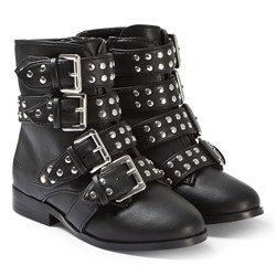 Guess Black Studded Buckle Boots