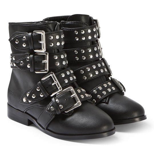 Guess Black Studded Buckle Boots 001