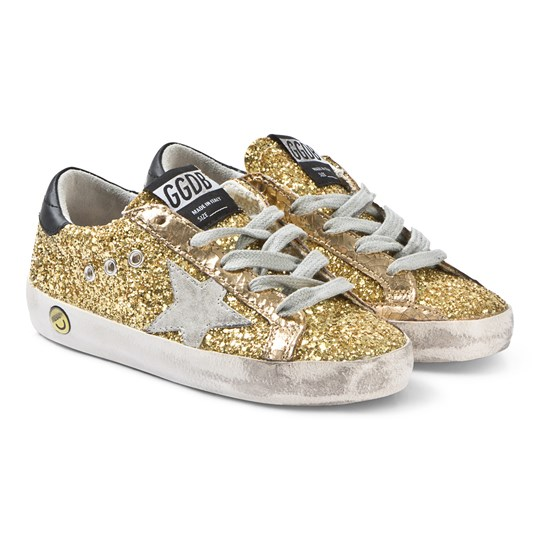Golden Goose Gold Glitter Superstar Sneakers Gold Glitter