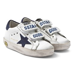 Golden Goose White and Navy Star Old School Sneakers