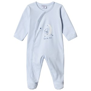 Image of Absorba Pale Blue Bear and Moon Print Babygrow 12 months (3125316653)