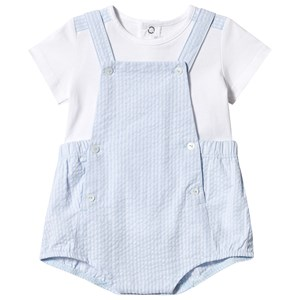 Image of Absorba Blue and White Romper and Tee Set 12 months (3125307565)