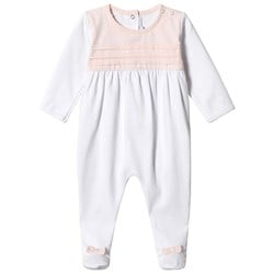 Absorba White and Pink Pintuck Babygrow