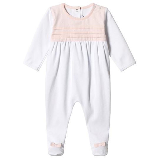 Absorba White and Pink Pintuck Babygrow 30