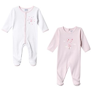 Image of Absorba 2-Pack White and Pink Babygrows 12 months (3125316565)