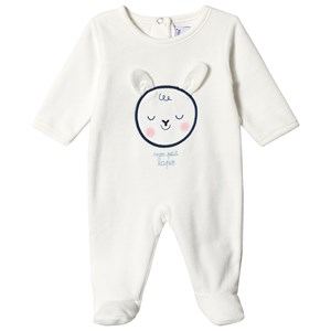 Image of Absorba White Bunny Velour Babygrow 1 month (3125307995)
