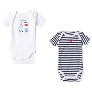 Image of Absorba 2-Pack Navy and White Short Sleeve Bodies 18 months (3125308761)