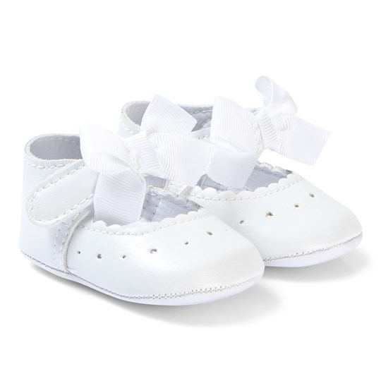Absorba White Bow Crib Shoes 01