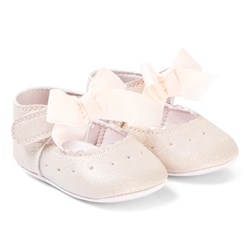 Absorba Pink Glitter Bow Crib Shoes