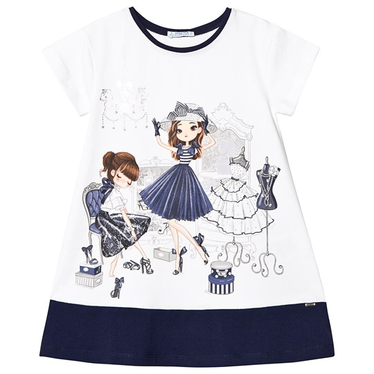 Mayoral White and Navy Two Girls Shopping Tee 74