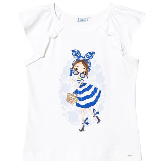 Mayoral White and Blue Stripe Girl Tee 20