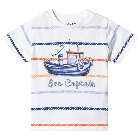 Mayoral White Sea Captain Boat Print Tee 74