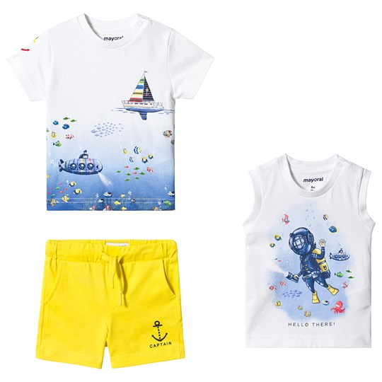 Mayoral 3 Piece White Sea Life Tee, Submarine Vest and Shorts Set 82