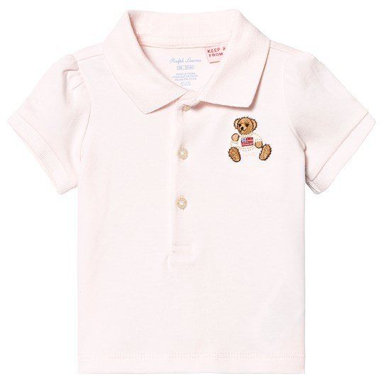 Ralph Lauren Pink Jersey Polo with Bear Applique 001