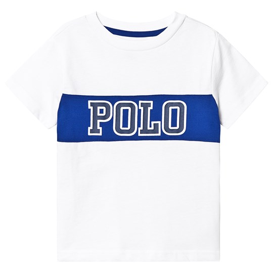 Ralph Lauren White and Blue Polo Logo Graphic Tee 003