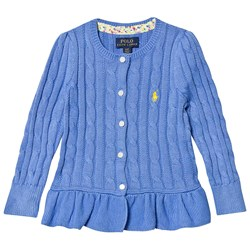 Ralph Lauren Blue Cable Knit Peplum Cardigan