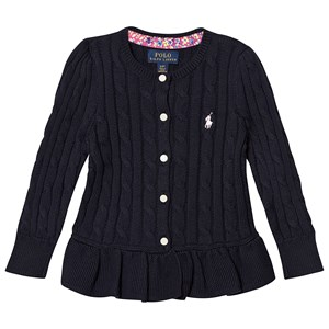 Image of Ralph Lauren Navy Cable Knit Peplum Cardigan 3 years (3125300631)