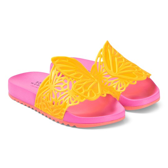 Sophia Webster Mini Lia Butterfly Slide Sandals Fluoro Yellow and Pink Fluoro Yellow & Pink