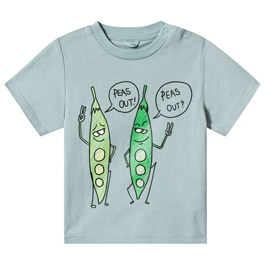 Stella McCartney Kids Grey Peas Print T-Shirt 1840 - Aqua