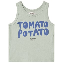 Bobo Choses Tomato Potato Linen Tank Top Iceberg Green