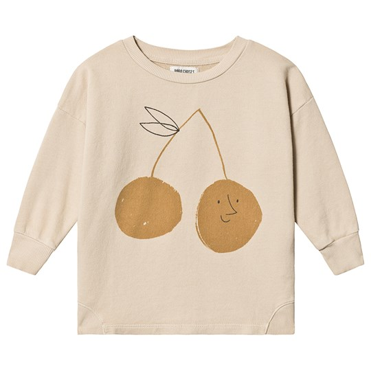 Bobo Choses Cherry Round Neck Sweatshirt Feather Grey Feather gray