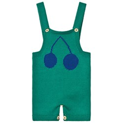 Bobo Choses Cherry Knitted Overalls Frosty Spruce