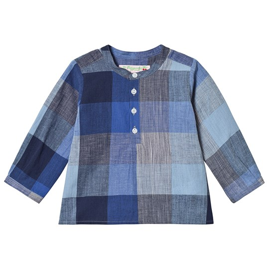 Bonpoint Blue Check Button Detail Shirt 377