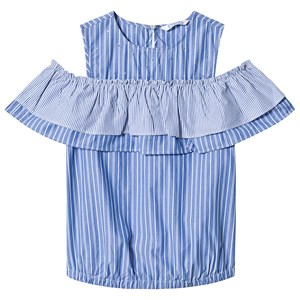 Image of Mayoral Blue Stripe Studded Ruffle Off the Shoulder Top 8 years (1302533)