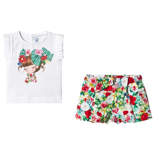 Mayoral White Girl Print Pleated Sleeve Top & Multi Floral Shorts Set 35
