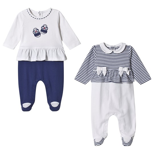 Mayoral Navy and White Stripe Ruffle 2 Pack Footed Baby Body 43