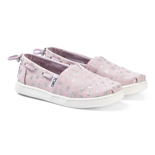 Toms Burnish Lilac/Metallic Torn Dots Canvas Youth Biminis Pink