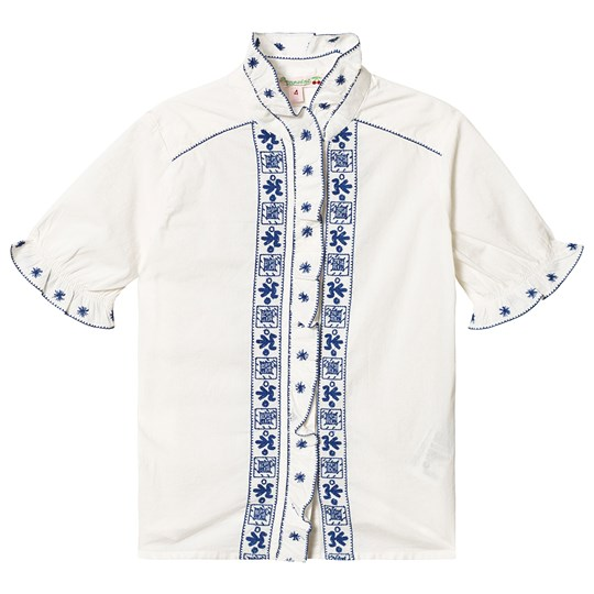 Bonpoint White and Blue Embroidered Blouse 102