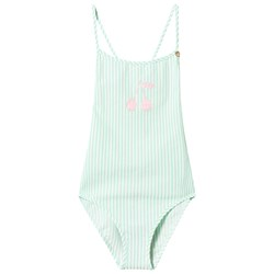 Bonpoint Mint and White Stripe Cherry Swimsuit