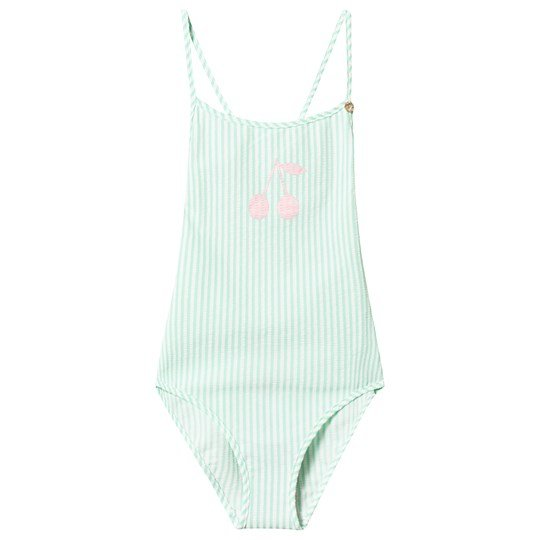 Bonpoint Mint and White Stripe Cherry Swimsuit 241B