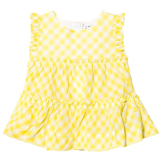 Mayoral Yellow Ruffle Gingham Shirt 74