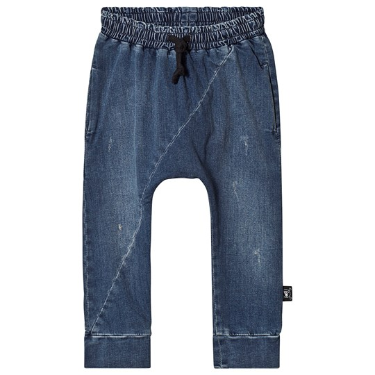 NUNUNU Diagonal Denim Pants Washed Denim WASHED DENIM