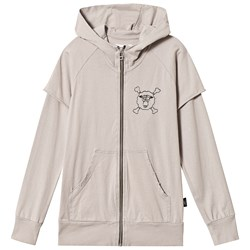 NUNUNU Layered Zip Hoodie Stone Washed Cement