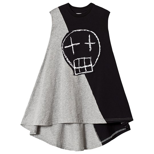 NUNUNU Half & Half Sketch Skull 360 Dress Black/Heather Grey BLACK/HEATHER GREY