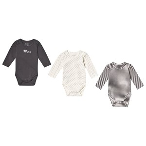Image of Hust&Claire 3-Pack Base Baby Bodies Grey 56 cm (1-2 mdr) (3125318523)