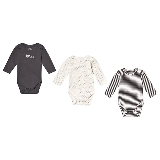Hust&Claire 3-Pack Base Baby Bodies Grey Magnet