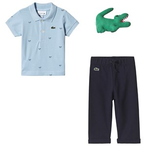 Image of Lacoste Blue and Navy Polo and Sweatpants Gift Set 12 months (3125253757)