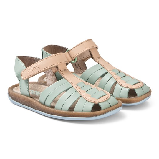Camper Pale Green and Tan Leather Bicho Sandals 001