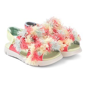 Image of Camper Coral and Green Fringe Leather Twins Sandals 25 (UK 7.5) (3125319161)