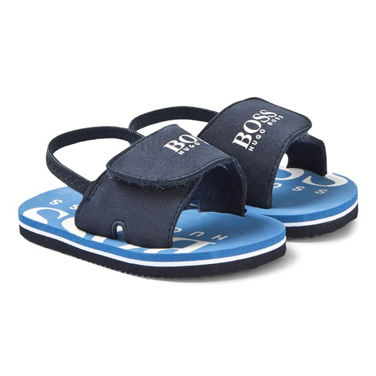 BOSS Navy and Blue Branded Velcro Strap Sandals 849