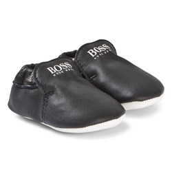 BOSS Navy Leather Logo Crib Shoes