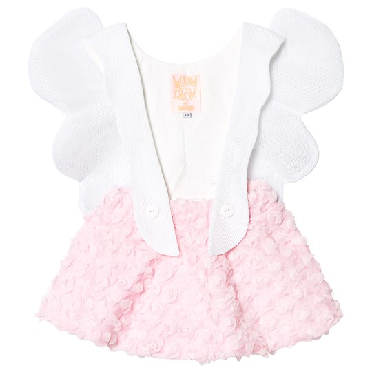Wauw Capow Angel Girl Dress Pink/White Pink and White