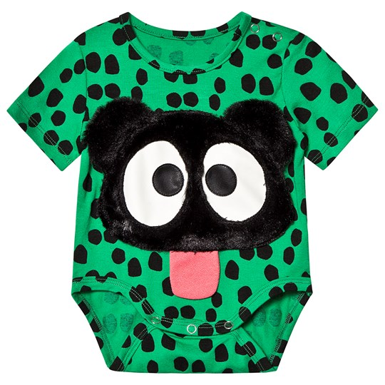 Wauw Capow Prickig Teddy Baby Body Grön/Svart Green with black dots