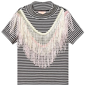 Image of Wauw Capow Luna Fringe Top Black/White Striped 4-5 years (1296545)