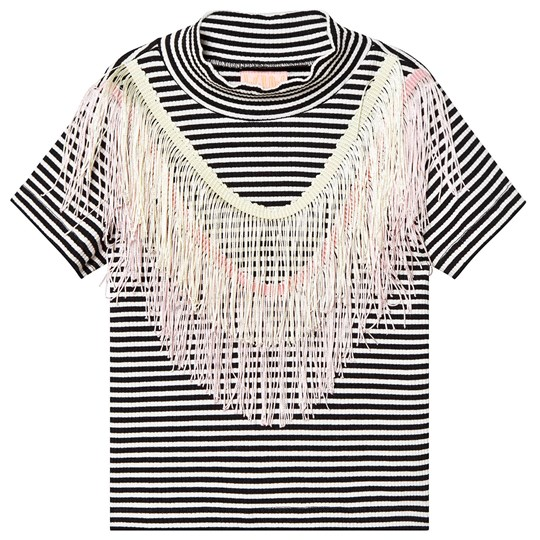 Wauw Capow Luna Fringe Top Black/White Striped Black and White striped
