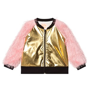 Image of Wauw Capow Bomber Jacket Fluffy Sleeves Gold/Pink 5-6 years (3125347887)